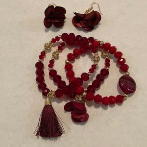 New Red and Burgandy Crystal Set
